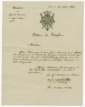 Primary view of object titled '[Letter from Ministere de la Grande Cresorerie to Zavala, March 12, 1834]'.