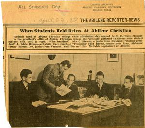 Primary view of object titled '[Newspaper Clipping: When Students Held Reins At Abilene Christian]'.