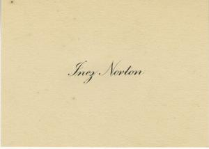 Primary view of object titled '[Inez Norton Name Card - 1920]'.