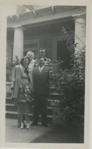 Primary view of object titled '[Photograph of Dora Stoffle in Front of Porch]'.