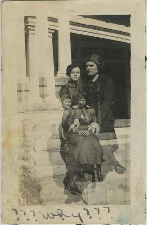 Primary view of object titled '[Double Exposed Photograph of Women on Porch Ledge]'.