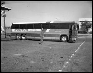 Primary view of object titled 'Greyhound Bus and Driver'.