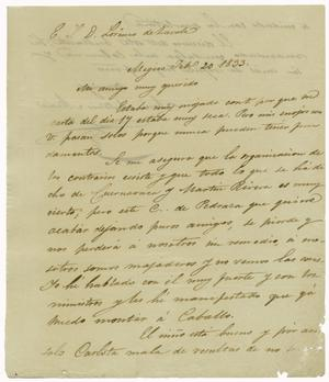 Primary view of object titled '[Letter from Mexia to Zavala, February 20, 1833]'.