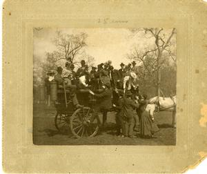 Primary view of object titled '[Photograph of Group on a Horse-Drawn Carriage]'.