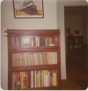 Primary view of object titled '[Photograph of Robbins Railroad Collection Bookshelf]'.