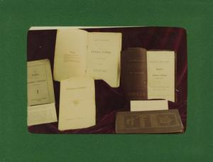Primary view of object titled '[Photograph of University Bulletins]'.