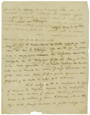 Primary view of object titled '[Letter from Lorenzo de Zavala to Laisne de Vildeveque, January 30, 1830]'.