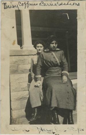 Primary view of object titled '[Photograph of Women on Stone Porch]'.
