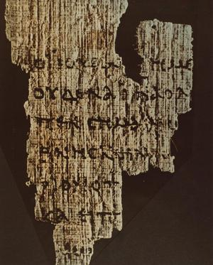 Primary view of object titled '[Photograph of Greek Text on Papyrus]'.