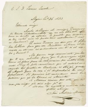 Primary view of object titled '[Letter from Mexia to Zavala, January 26, 1833]'.