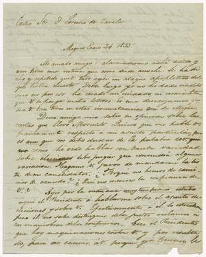 Primary view of object titled '[Letter from Mexia to Zavala, January 24, 1833]'.