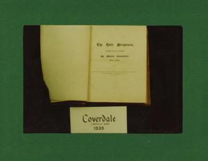 Primary view of object titled '[Photograph of Coverdale Bible]'.