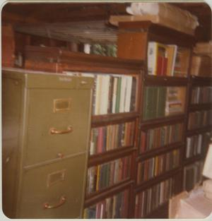 Primary view of object titled '[Photograph of Bookshelves in Basement]'.