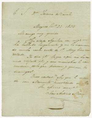 [Letter from Mexia to Zavala, January 22, 1833]