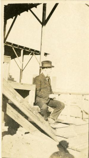 Primary view of object titled '[Photograph of Lewis Hosea in Stadium Seats]'.