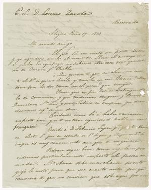 Primary view of object titled '[Letter from Mexia to Zavala, January 17, 1833]'.
