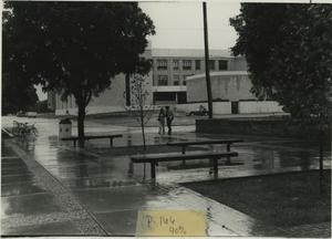 Primary view of object titled '[Photograph of Science Building in the Rain]'.