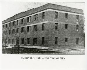 Primary view of object titled '[Photograph of McDonald Hall]'.