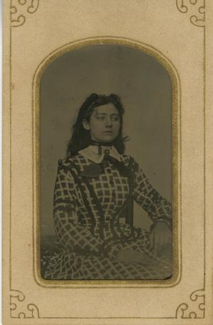 Primary view of object titled '[Portrait of Woman in Checkered Dress]'.
