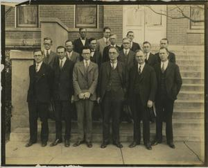 Primary view of object titled '[Photograph of Group on Steps of Building]'.