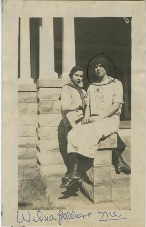 Primary view of object titled '[Photograph of Women on Porch Ledge]'.
