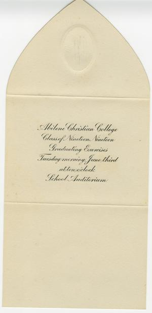 Primary view of object titled '[Inez Norton Graduation Announcement]'.