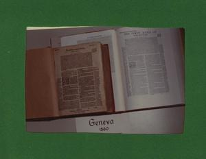 Primary view of object titled '[Photograph of Geneva Bible]'.