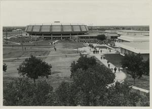 Primary view of object titled '[Photograph of Moody Coliseum]'.