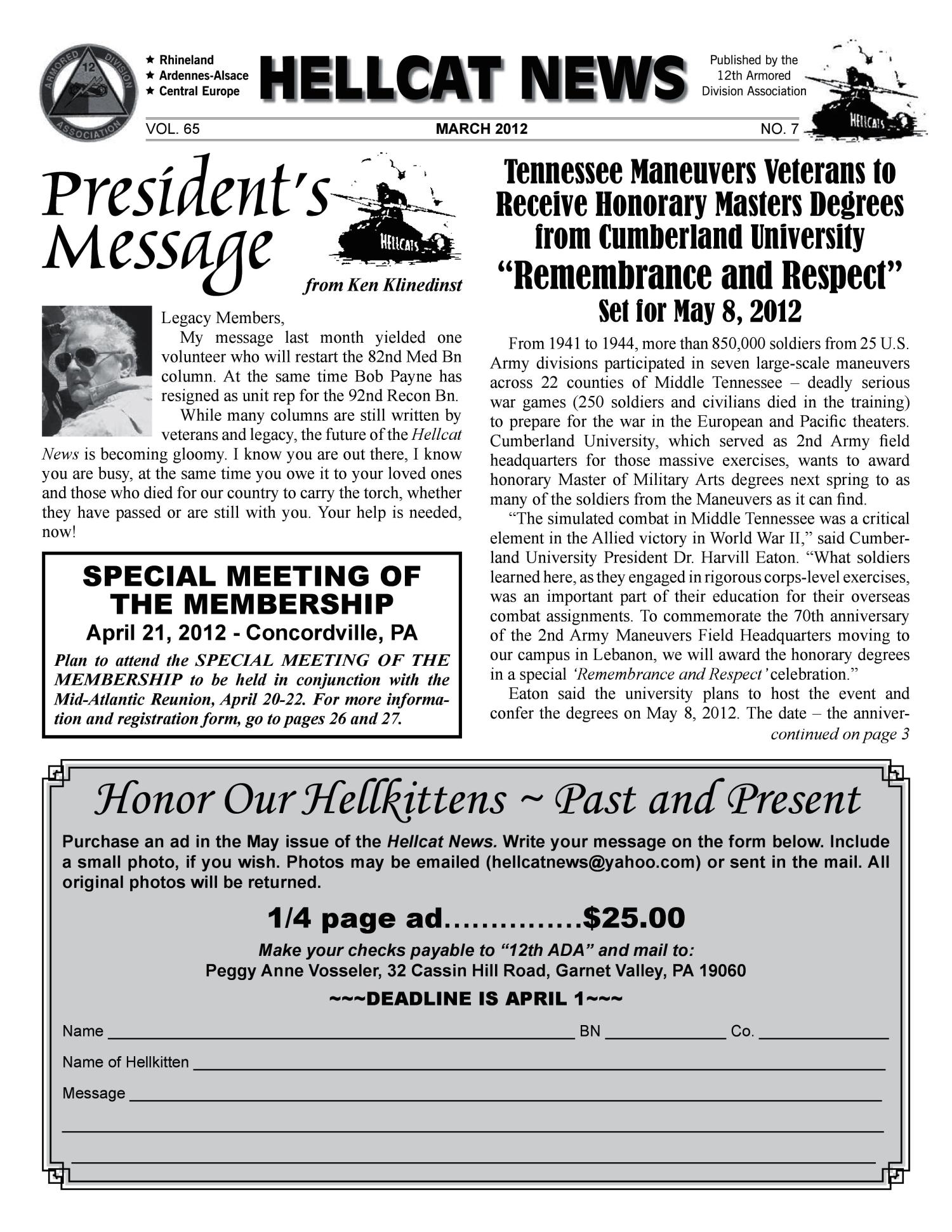 Hellcat News (Garnet Valley, Pa.), Vol. 65, No. 7, Ed. 1, March 2012                                                                                                      [Sequence #]: 1 of 28
