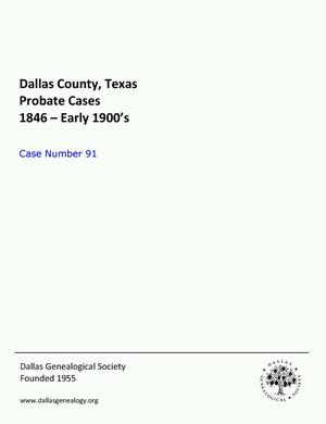 Primary view of object titled 'Dallas County Probate Case 91: Cox, Alice (Deceased)'.