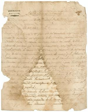 Primary view of object titled '[Letter from (Antonio Lopez de Santa Anna) to Lorenzo de Zavala, December 30, 1828]'.