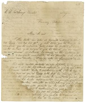 Primary view of object titled '[Letter from (Antonio Lopez de Santa Anna) to Lorenzo de Zavala, October 07, 1829]'.