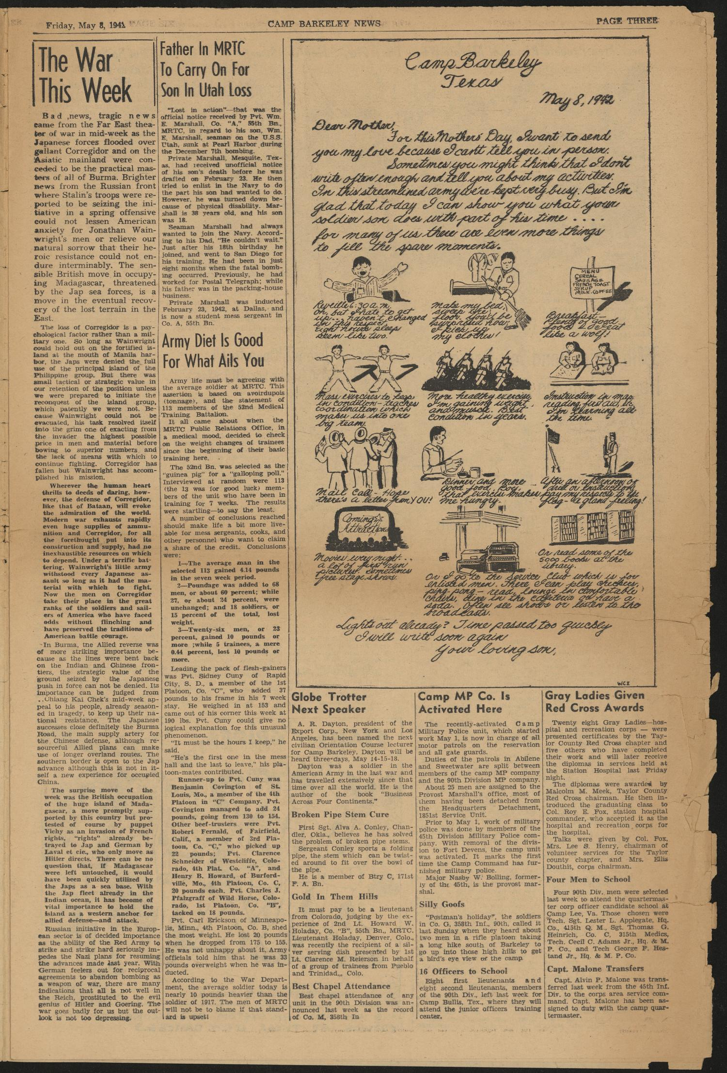 Camp Barkeley News (Camp Barkeley, Tex.), Vol. 1, No. 12, Ed. 1 Friday, May 8, 1942                                                                                                      [Sequence #]: 3 of 8