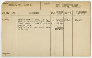 Primary view of object titled '[Client Card: Mrs. Allan L. Berman]'.