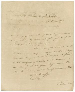 Primary view of object titled '[Letter from Lorenzo de Zavala to Juan de Dios Canedo, September 1, 1828]'.
