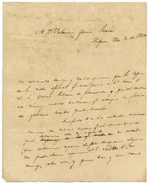 Primary view of object titled '[Letter from Lorenzo de Zavala to Valentin Gomez Farias, September 1, 1828]'.
