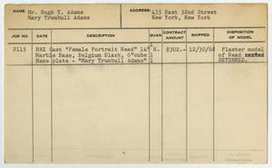Client Card: Mr. Hugh T. Adams, Roman Bronze Works Client Card Index