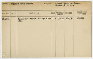 Primary view of object titled '[Client Card: American Bronze Company, Inc.]'.