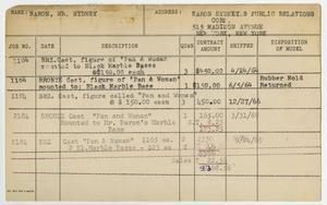 Client Card: Mr. Sydney Baron, Roman Bronze Works Client Card Index