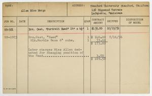 Client Card: Miss Margo Allen, Roman Bronze Works Client Card Index