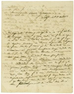 Primary view of object titled '[Letter from Lorenzo de Zavala to Vicente Guerrero, September 1, 1827]'.