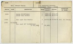Primary view of object titled '[Client Card: Mrs. Edward Berge]'.