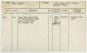 Client Card: Mrs. Catmur, Roman Bronze Works Client Card Index