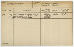 Client Card: Mr. Robert Baranet, Roman Bronze Works Client Card Index