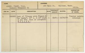 Primary view of object titled '[Client Card: Mr. Frank Albee]'.