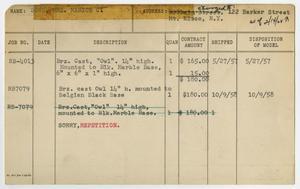 Client Card: Mrs. Marion C. Bonn, Roman Bronze Works Client Card Index