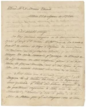Primary view of object titled '[Letter from Juan de Dios Canedo to Lorenzo de Zavala, August 31, 1828]'.