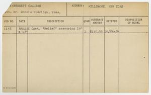 Primary view of object titled '[Client Card: Bennett College]'.