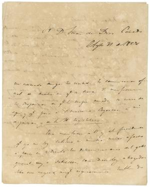 Primary view of object titled '[Letter from Lorenzo de Zavala to Juan de Dios Canedo, August 31, 1828]'.