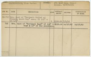 Primary view of object titled '[Client Card: Miss Marian Brackenridge]'.
